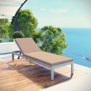 Darren Silver and Mocha Outdoor Patio Aluminum Chaise with Cushion