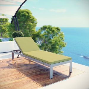 Darren Silver and Peridot Outdoor Patio Aluminum Chaise with Cushion