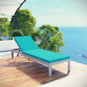 Darren Silver and Turquoise Outdoor Patio Aluminum Chaise with Cushion