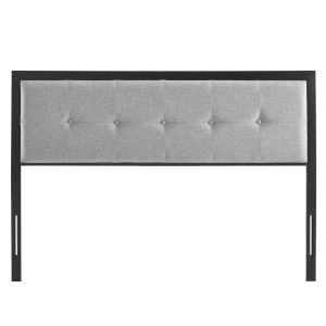 Whittier Black and Light Gray Tufted King Headboard
