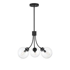 York Matte Black Three-Light Chandelier