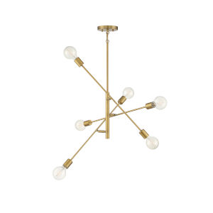 Pax Natural Brass Six-Light Chandelier