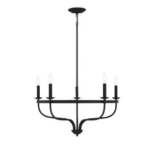 Eloise Matte Black Five-Light Chandelier