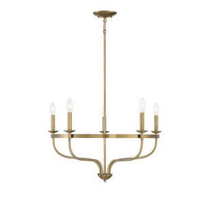 Eloise Natural Brass Five-Light Chandelier