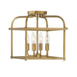 Anita Natural Brass Four-Light Semi-Flush Mount