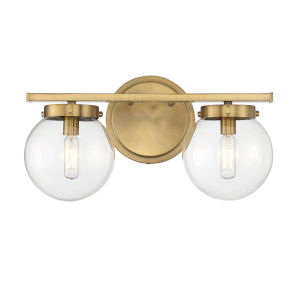 Cora Natural Brass Two-Light Bath Vanity with Clear Glass
