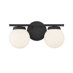 Cora Matte Black Two-Light Bath Vanity with Opal Glass