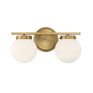 Cora Natural Brass Two-Light Bath Vanity with Opal Glass