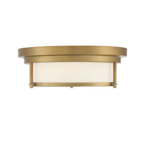Whittier Natural Brass Two-Light Flush Mount