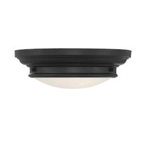 Whittier Matte Black Two-Light Flush Mount with Round Glass