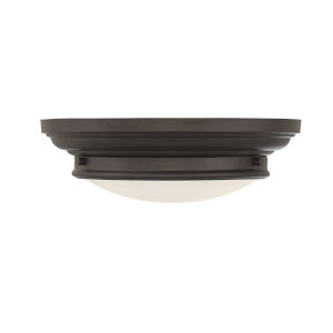 Whittier Oil Rubbed Bronze Two-Light Flush Mount with Round Glass