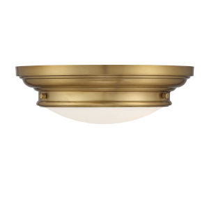 Whittier Natural Brass Two-Light Flush Mount with Round Glass