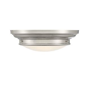 Whittier Polished Nickel Two-Light Flush Mount with Round Glass