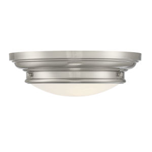 Whittier Brushed Nickel Two-Light Flush Mount with Round Glass