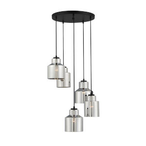 Artemis Matte Black Five-Light Pendant