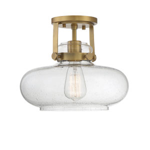 Howe Natural Brass One-Light Semi-Flush Mount
