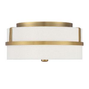 Nicollet Natural Brass Two-Light Flush Mount
