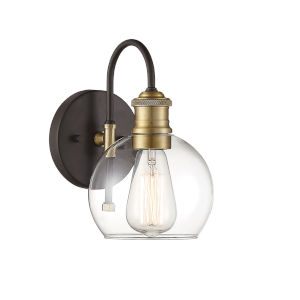 Pax Oil Rubbed Bronze and Brass One-Light Outdoor Wall Sconce
