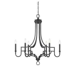 Elle Matte Black Six-Light Chandelier
