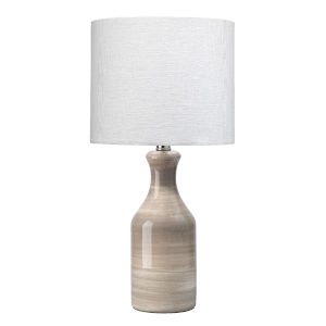 Cream Dark Taupe Swirl Ceramic One-Light Bungalow Table Lamp