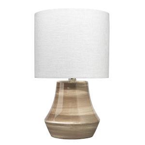 Cream Dark Taupe Swirl Ceramic One-Light Cottage Table Lamp