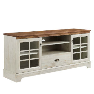 Quinn Walnut and White 59-Inch TV Stand