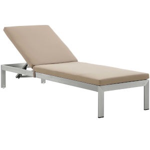 Darren Silver and Mocha Outdoor Patio Chaise with Cushion