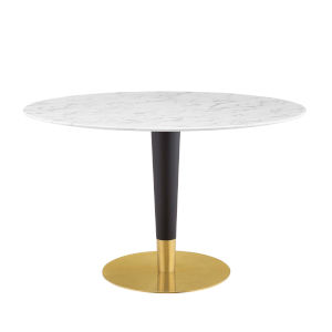 Cooper Gold Black and White 47-Inch Marble Dining Table