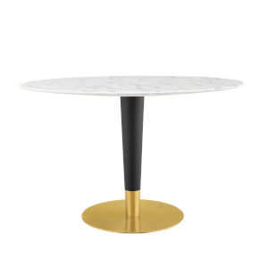 Cooper Gold Black and White 47-Inch Oval Marble Dining Table