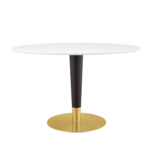 Cooper Gold Black and White 47-Inch Oval Dining Table