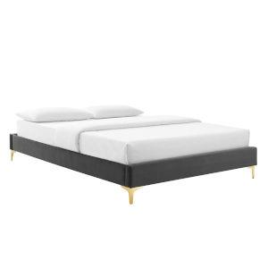 Loring Charcoal Performance Velvet Full Bed Frame