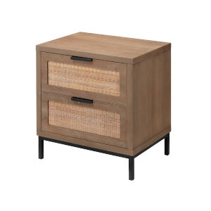Grace Washed Wood and Black Side Table with Two Drawers