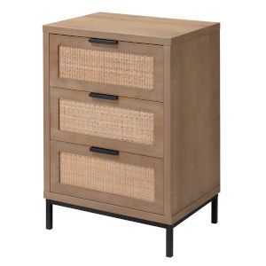 Grace Washed Wood and Black Side Table with Three Drawers