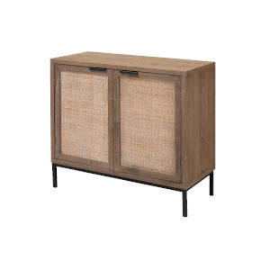 Grace Washed Wood and Black Two Door Accent Cabinet