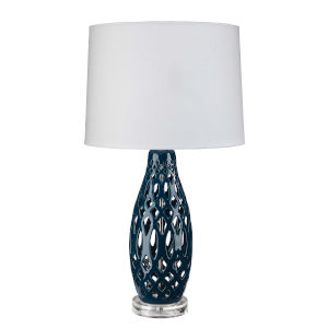 Cora Navy Blue and White One-Light Table Lamp
