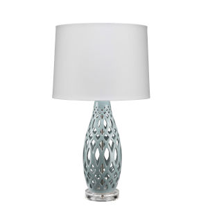 Cora Pale Blue and White One-Light Table Lamp
