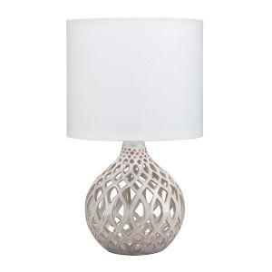 Cora Cream and White One-Light Ceramic Table Lamp