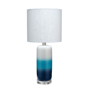 Cora Blue Ombre and White One-Light Table Lamp