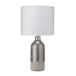 Cora Silvered Taupe and Off White One-Light Table Lamp