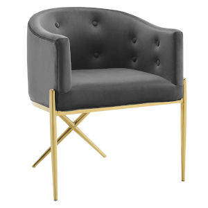Cooper Charcoal and Gold Tufted Performance Velvet Dining Armchair