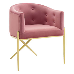 Cooper Dusty Rose and Gold Tufted Performance Velvet Dining Armchair