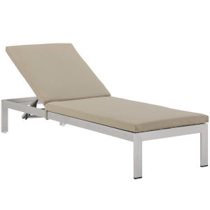 Darren Silver and Beige Outdoor Patio Chaise with Cushions