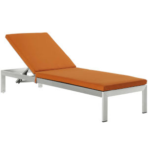 Darren Silver and Orange Outdoor Patio Chaise with Cushions