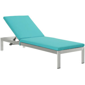 Darren Silver and Turquoise Outdoor Patio Chaise with Cushions