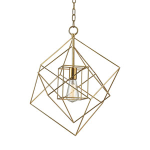 Monroe Gold Leaf 18-Inch One-Light Geometric Pendant