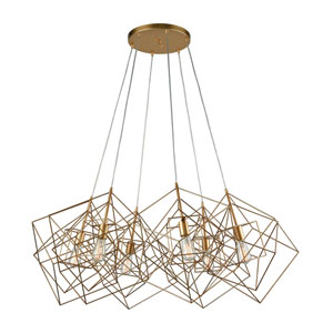 Monroe Gold Leaf Six-Light Geometric Pendant