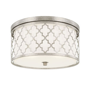 Whittier Antique Silver Three-Light Flush Mount
