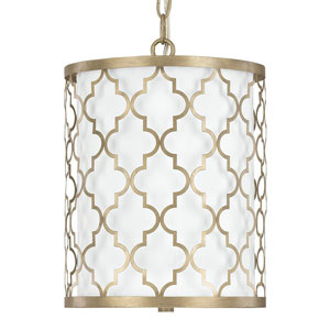 Whittier Brushed Gold Two-Light Drum Pendant
