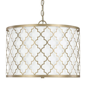 Whittier Brushed Gold Three-Light Drum Pendant