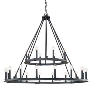 Fulton Black Iron Twenty-Four Light Minimalist Chandelier